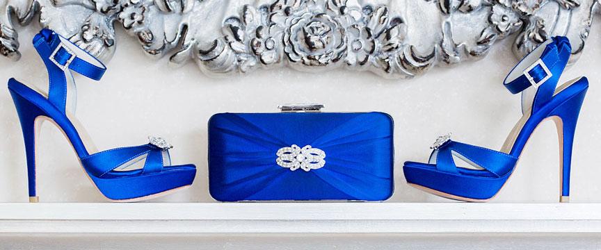 Hedy cobalt Deco brooch