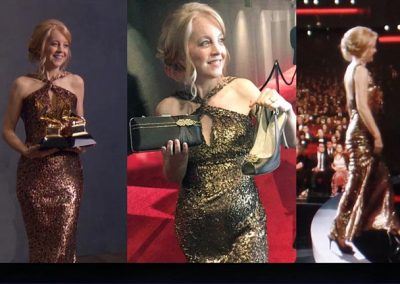 Grammy winner Maria Schneider in Lamour dyed, Deco brooch, Juliet clutch dyed with custom glitz, Astoria brooch