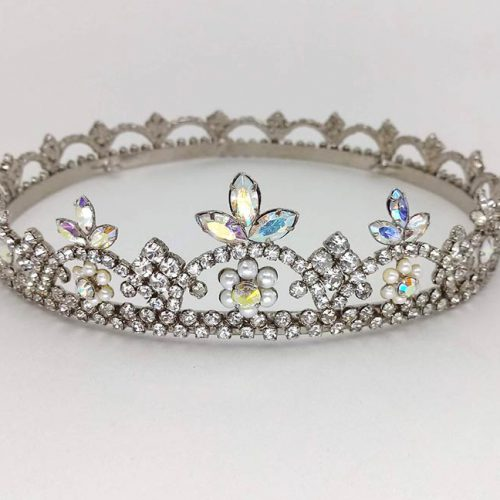 Circlet Tiara diamond and champagne crystals with pearls in a silver patina.