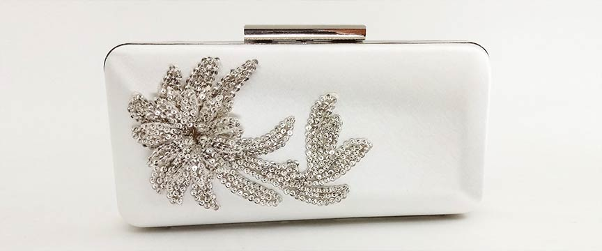 Juliet clutch with sequin flower adornment