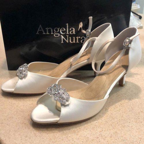 Deco sandal Off White Silk Shoe