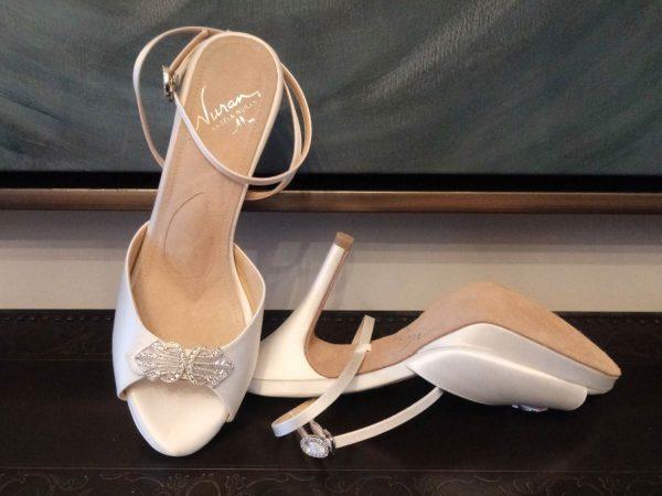 Monroe Platform Off White Silk Shoe
