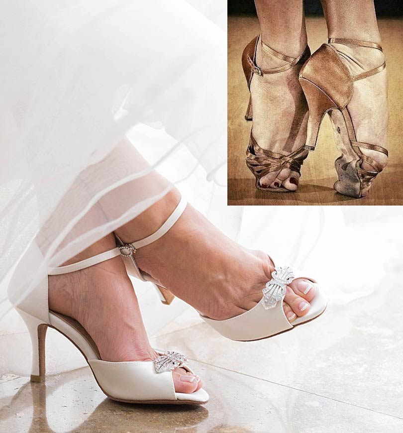 Wedding shoe you can dance in bent in half showing its flexibility