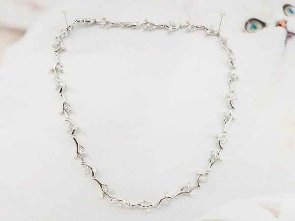Pearl CZ branch necklace