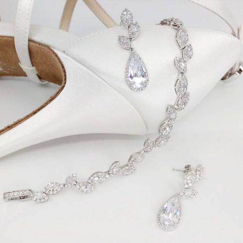 Teardrop CZ Earrings & Bracelet