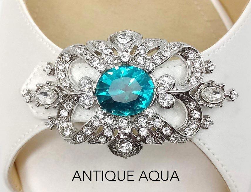 Antique Aqua Brooch