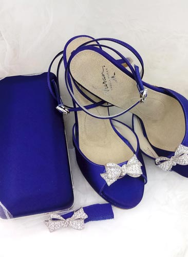 Kismet Shoe with cobalt dye with and matching clutch and ankle band