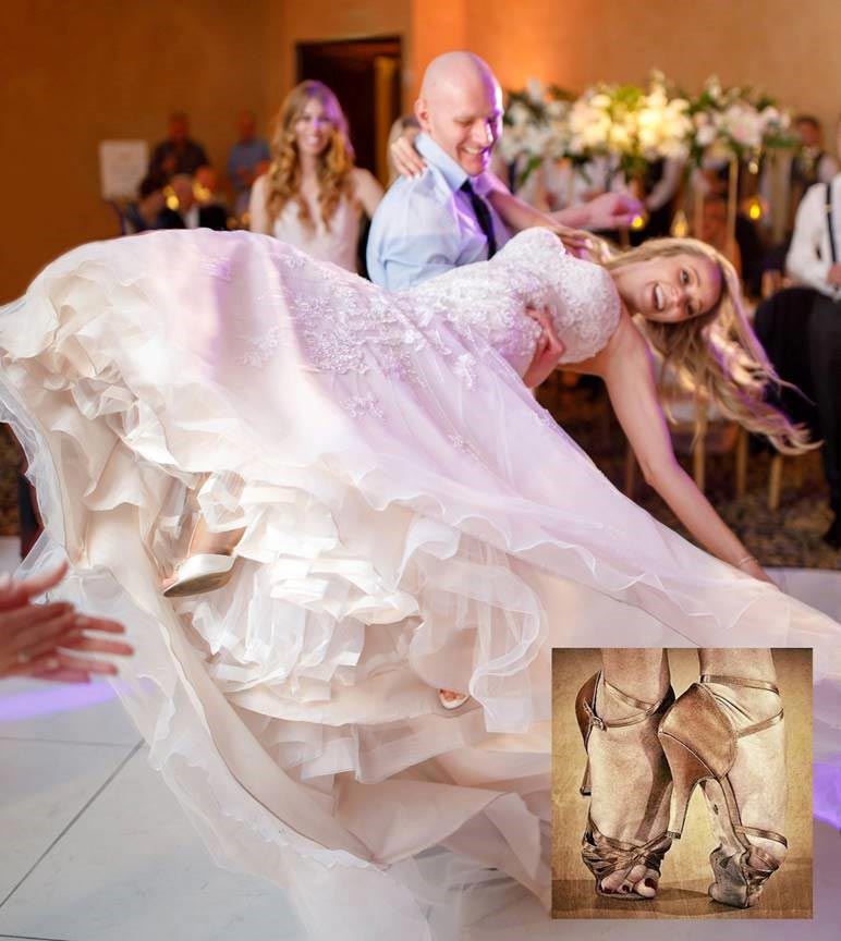 Beautiful bride Heather wore Angela Nuran's Antique Style with T-straps to dance the night away!