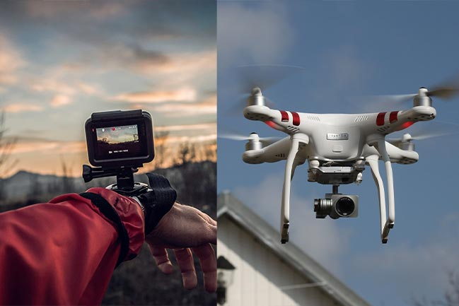 Two photos in one, Go Pro on a wrist and a drone with a camera.