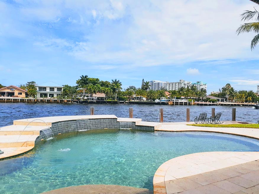 Angela Nuran's pool with view of Intracoastal Waterway