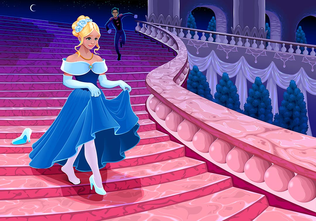 Cinderella walking down the stairs losing her glass slipper as the prince follows far behind.