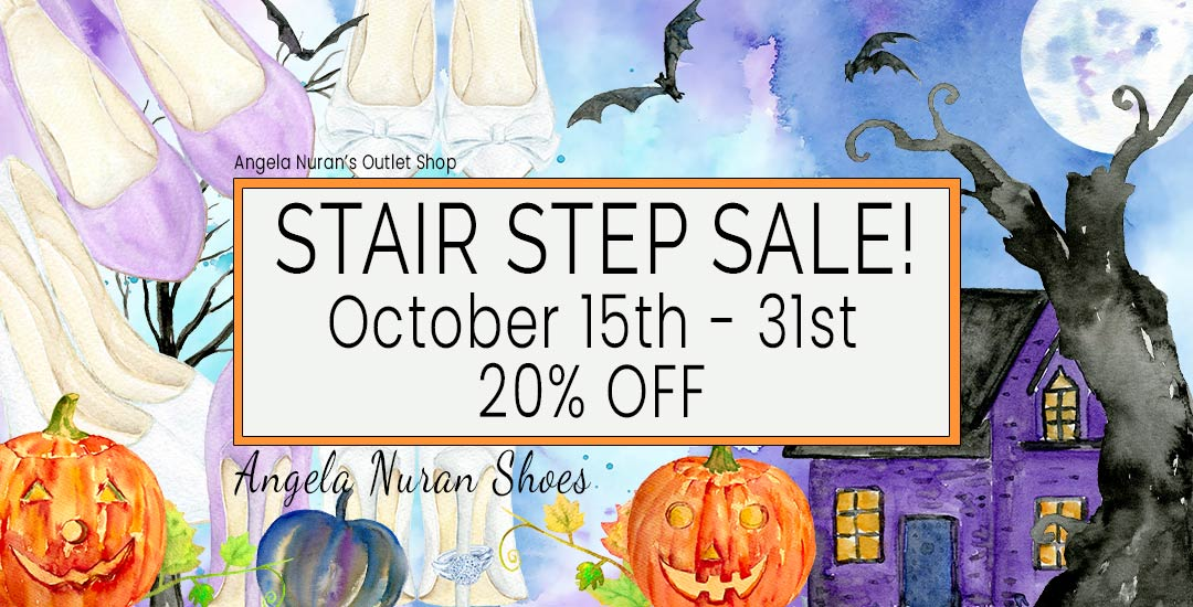 Flora and wedding shoes background in water colors and text announcing 20% off.