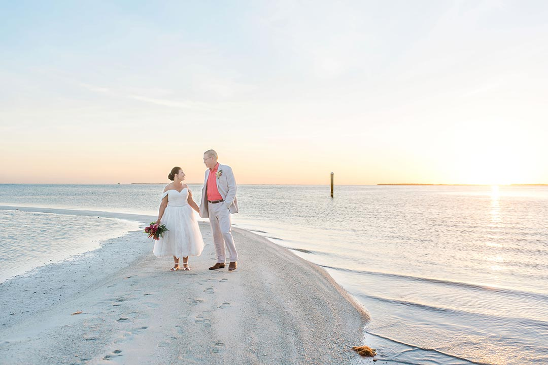 After Kim's wedding in Italy was canceled, her Audrey flat wedges were perfect for getting married in the Florida Keys!